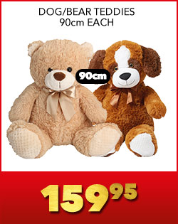 DOG/BEAR TEDDIES 90cm EACH, 159,95