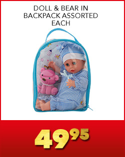 DOLL & BEAR IN BACKPACK ASSORTED EACH, 49,95