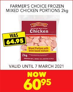 FARMER'S CHOICE FROZEN MIXED CHICKEN PORTIONS 2kg, NOW 60,95